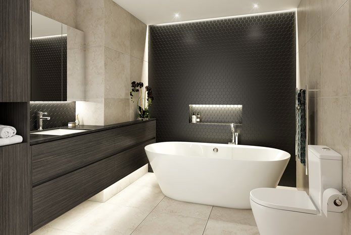 Nicola Manning Design bathroom design dark timber cabinetry. Black matt hex mosaic tiles. The Victor Apartments