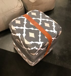 Nicola-Manning-Design-Patterned-Strapped-Pouff-ICFF-2017-New-York Furniture Trends Blog