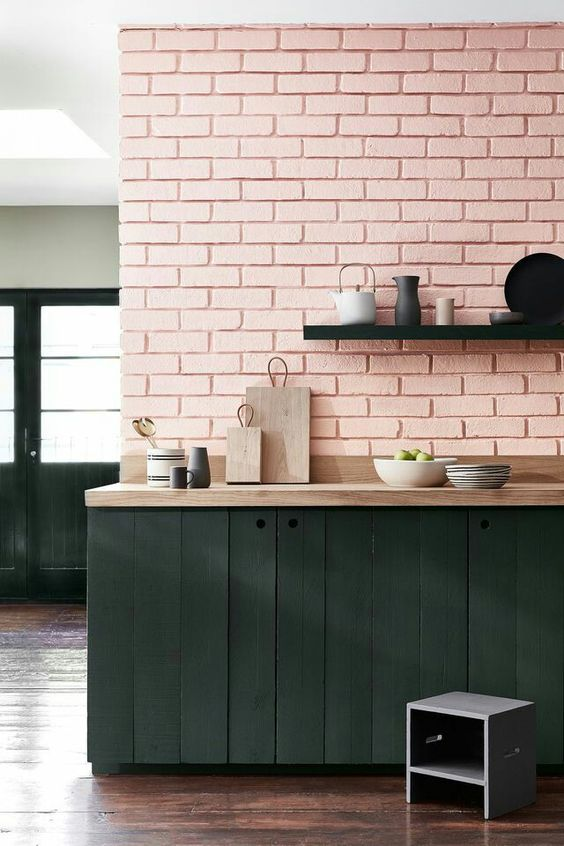 Nicola Manning Design Pink Painted bricks in kitchen