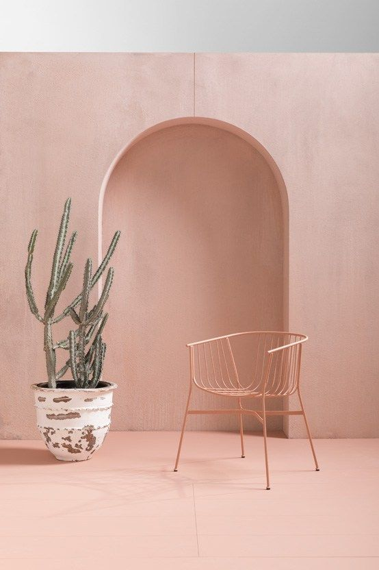 Nicola Manning Design Blog pink exterior wall and pink outdoor chair