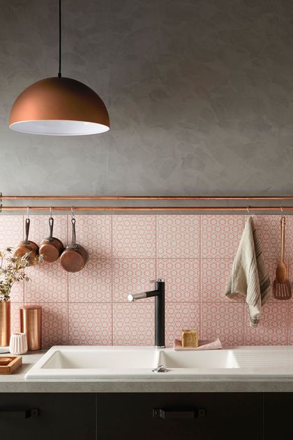 Pink tiles pink kitchen splash back Nicola Manning Blog